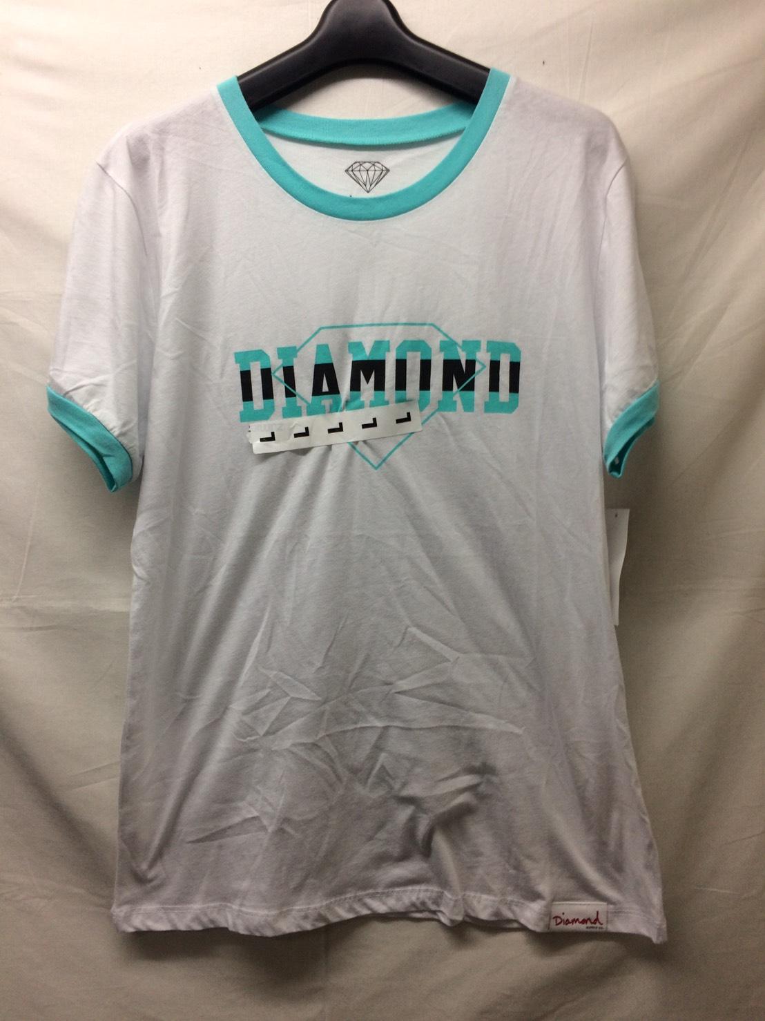 Diamond Supply Co Overlap White & Blue Ringer T-Shirt