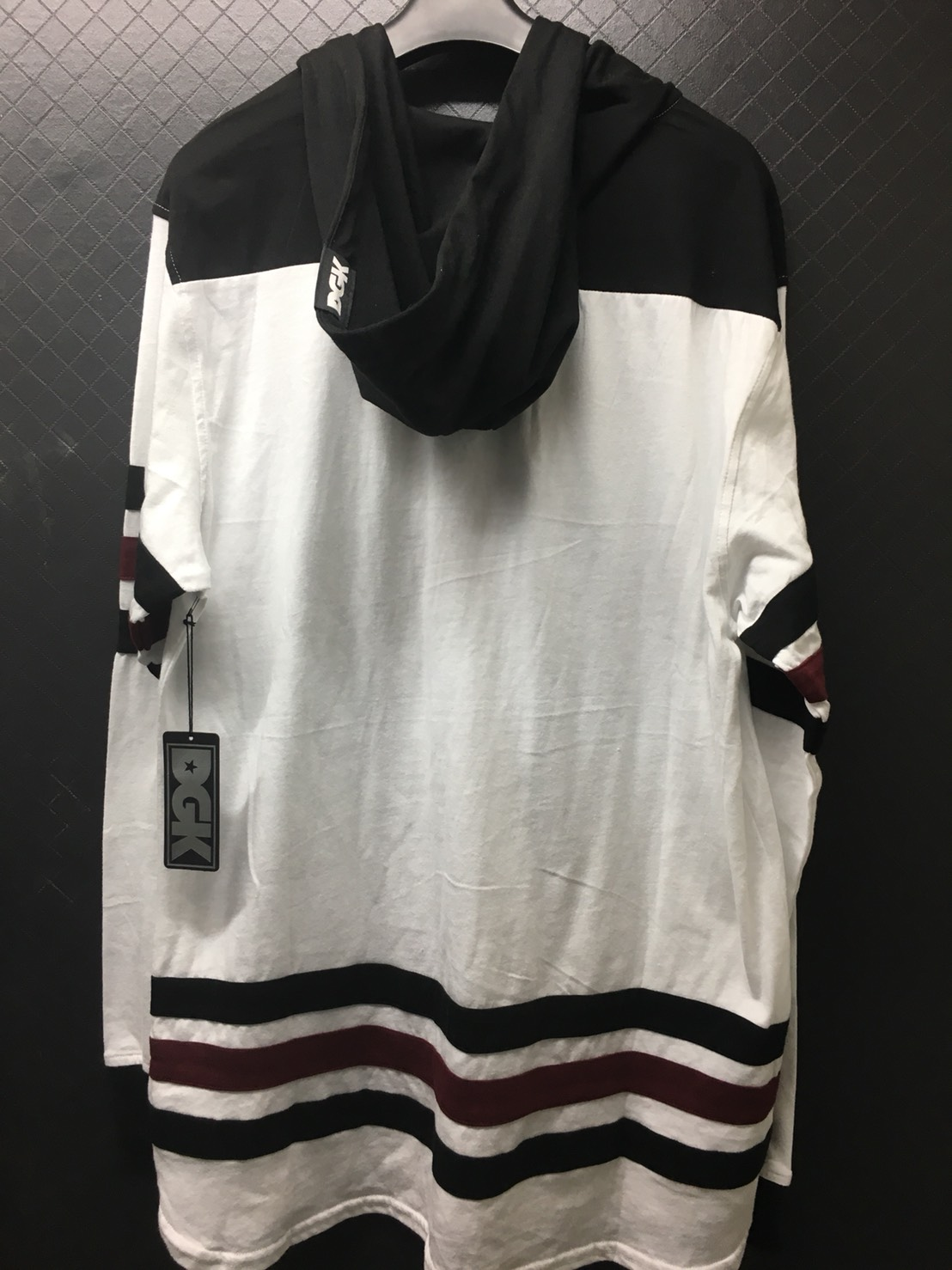 DGK Penalty White, Black & Burgundy Hooded Long Sleeve T